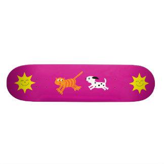 Cute Cartoon Dog Chasing Cat Pink Skateboard