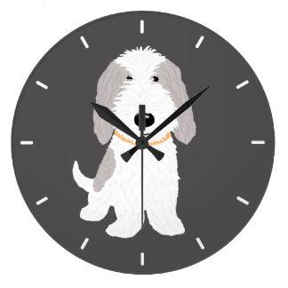 Cute Cartoon Dog PBGV Large Clock