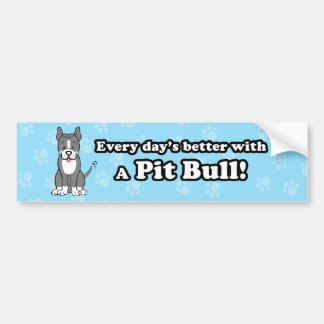 Cute Cartoon Dog Pitbull Bumper Sticker