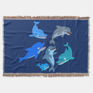 Cute Cartoon Dolphin Pod Throw Blanket