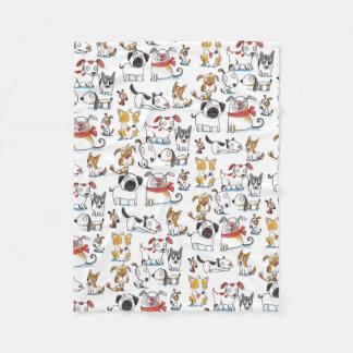 cute cartoon doodle dogs pattern fleece blanket