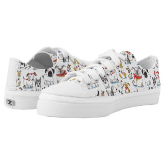 cute cartoon doodle dogs pattern printed shoes