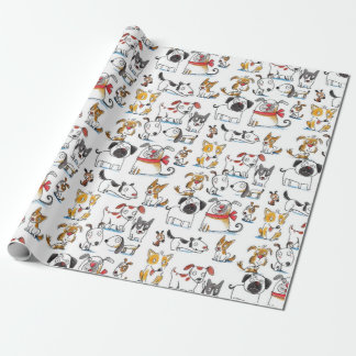 cute cartoon doodle dogs pattern wrapping paper