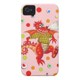 Cute cartoon Dragon & dots iPhone 4 Case-Mate Cases