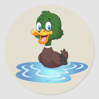Cute Cartoon Duck Classic Round Sticker