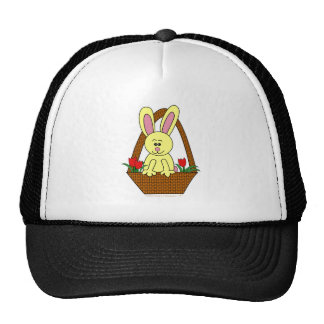Cute Cartoon Easter Bunny in a Basket Hats