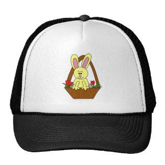 Cute Cartoon Easter Bunny in a Basket Hats
