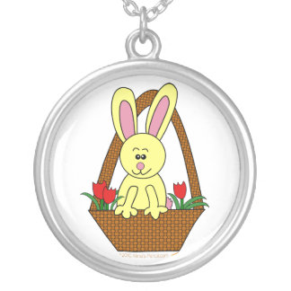 Cute Cartoon Easter Bunny in a Basket Round Pendant Necklace