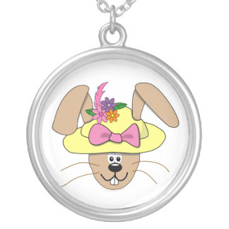 Cute Cartoon Easter Bunny in A Bonnet Necklaces