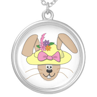Cute Cartoon Easter Bunny in A Bonnet Silver Plated Necklace