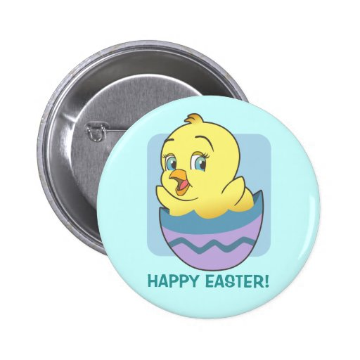 Cute Cartoon Easter Chick Pinback Buttons