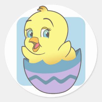 Cute Cartoon Easter Chick Round Sticker
