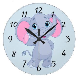 Cute cartoon Elephant Large Clock