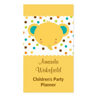 Cute Cartoon Elephant Party Planner Business Card