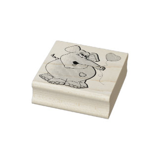 Cute Cartoon Elephant Rubber Stamp