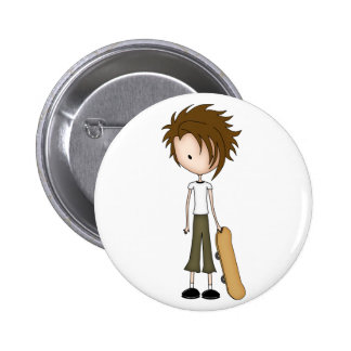 Cute Cartoon Emo Boy Skateboarder 6 Cm Round Badge