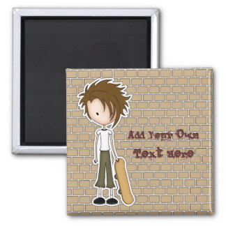 Cute Cartoon Emo Boy Skateboarder Square Magnet