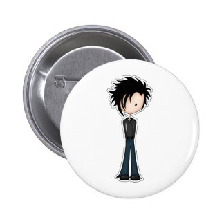 Cute Cartoon Emo Boy with Black Spikey Hair 6 Cm Round Badge
