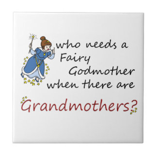 Cute Cartoon Fairy with Grandmothers Saying Ceramic Tile