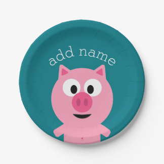 Cute Cartoon Farm Pig - Pick Your Background Color Paper Plate
