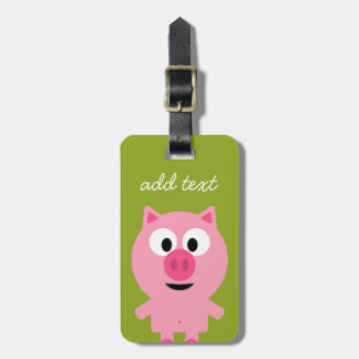 Cute Cartoon Farm Pig - Pink and Lime Green Luggage Tag