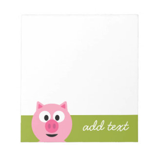 Cute Cartoon Farm Pig - Pink and Lime Green Notepad