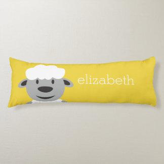 Cute Cartoon Farm Sheep - yellow and gray Body Cushion