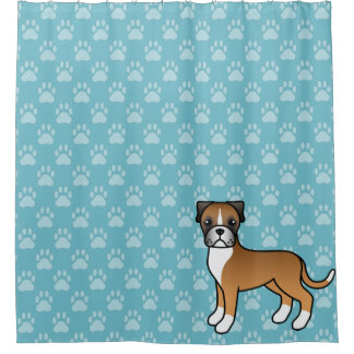 Cute Cartoon Fawn Boxer Dog On Blue Shower Curtain