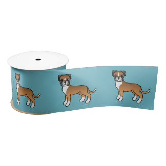 Cute Cartoon Fawn Boxer Dogs Satin Ribbon