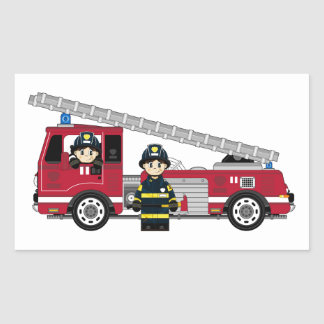 Cute Cartoon Fireman and Fire Engine Rectangular Sticker