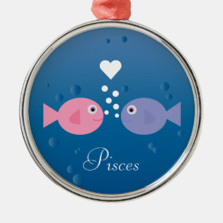 Cute Cartoon Fish Pisces Zodiac Sign Custom Silver-Colored Round Decoration