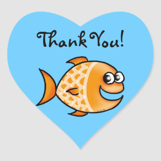 Cute cartoon fish thank you heart sticker
