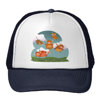 Cute Cartoon Floating Highland Cows Hat