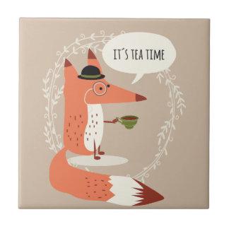 Cute cartoon fox having tea time ceramic tile
