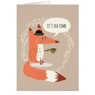 Cute cartoon fox having tea time greeting card