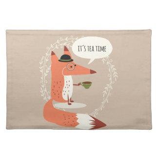 Cute cartoon fox having tea time placemat