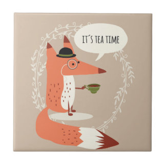 Cute cartoon fox having tea time small square tile