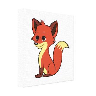 Cute Cartoon Fox White Canvas Print