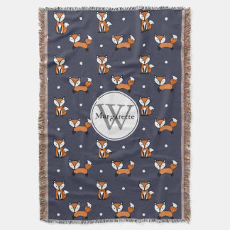 Cute Cartoon Foxes White Polka Dots Personalized