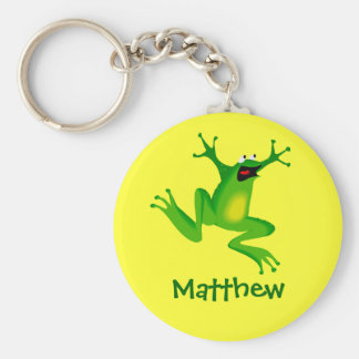 Cute Cartoon Frog Personalized Name Gift Key Ring