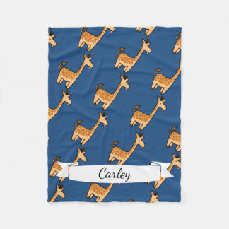Cute Cartoon Funny Giraffe & Name in Script Fleece Blanket