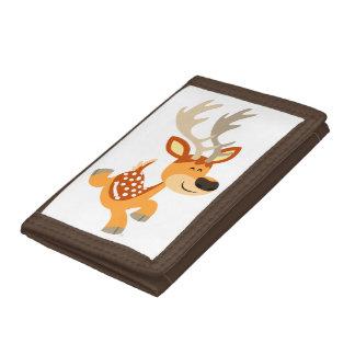 Cute Cartoon Gamboling Fallow Deer Tri-fold Wallet