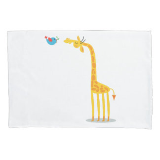 Cute cartoon giraffe and bird pillowcase