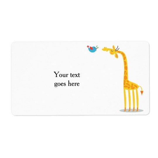 Cute cartoon giraffe and bird shipping label