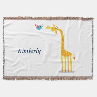 Cute cartoon giraffe and bird throw blanket