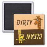 Cute Cartoon Giraffe Dirty Clean Dishwasher Magnet