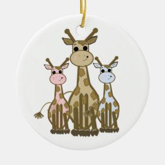 Cute Cartoon Giraffe Family Ceramic Ornament