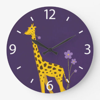 Cute Cartoon Giraffe Flowers Purple Large Clock