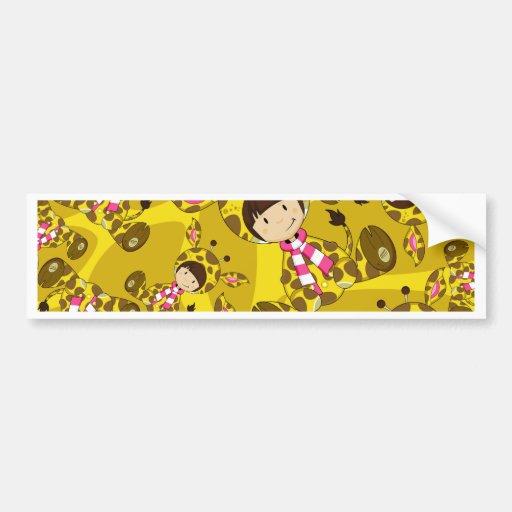 Cute Cartoon Giraffe Girl Pattern Bumper Sticker