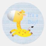 Cute Cartoon Giraffe It's A Boy New Baby Round Stickers